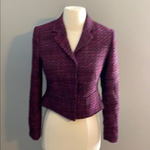T Tahari purple tweed blazer